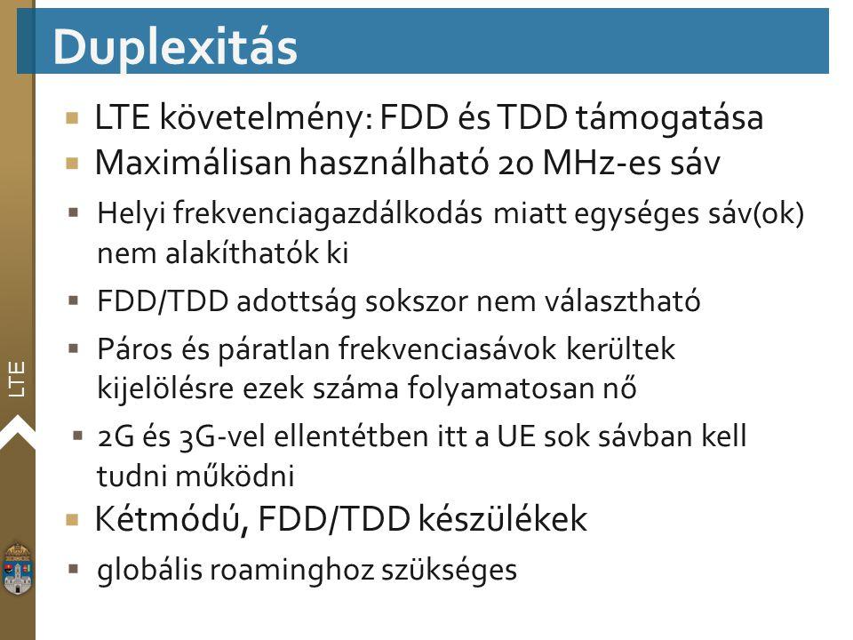 LTE  LTE követelmény: FDD és TDD támogatása  Maximálisan használható 20 MHz-es sáv  Helyi frekvenciagazdálkodás miatt egységes sáv(ok) nem alakítha