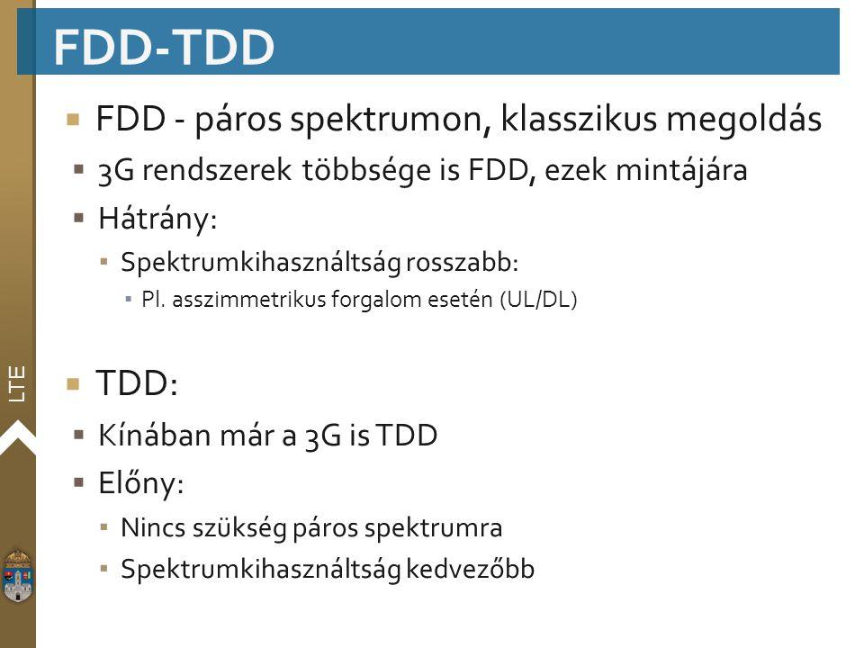 LTE  FDD - páros spektrumon, klasszikus megoldás  3G rendszerek többsége is FDD, ezek mintájára  Hátrány: ▪ Spektrumkihasználtság rosszabb: ▪ Pl. a
