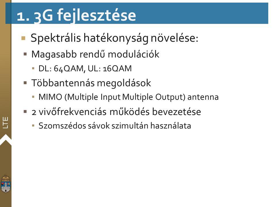 LTE  Spektrális hatékonyság növelése:  Magasabb rendű modulációk ▪ DL: 64QAM, UL: 16QAM  Többantennás megoldások ▪ MIMO (Multiple Input Multiple Ou