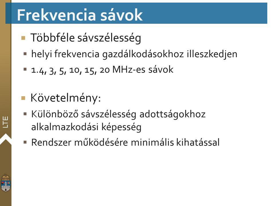 LTE  Többféle sávszélesség  helyi frekvencia gazdálkodásokhoz illeszkedjen  1.4, 3, 5, 10, 15, 20 MHz-es sávok  Követelmény:  Különböző sávszéles