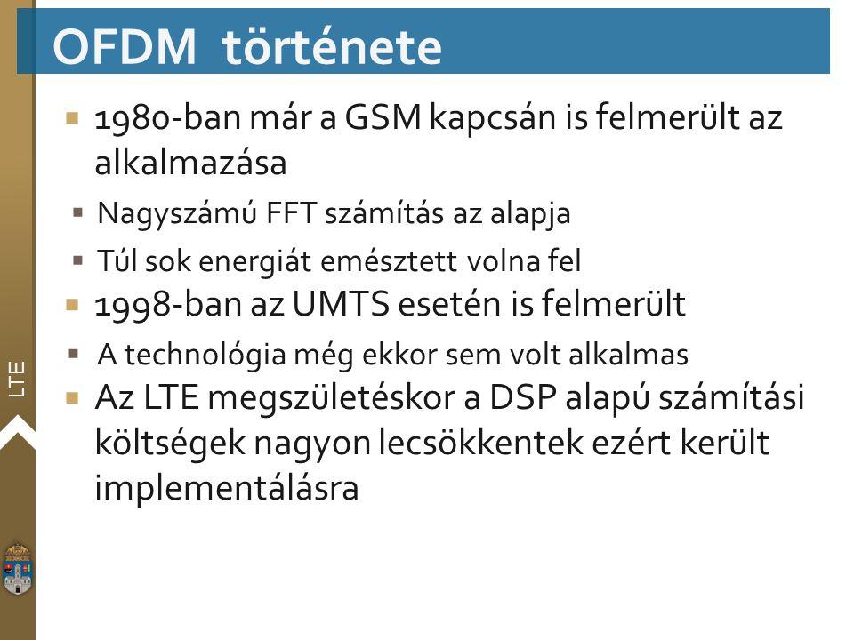 LTE  1980-ban már a GSM kapcsán is felmerült az alkalmazása  Nagyszámú FFT számítás az alapja  Túl sok energiát emésztett volna fel  1998-ban az U