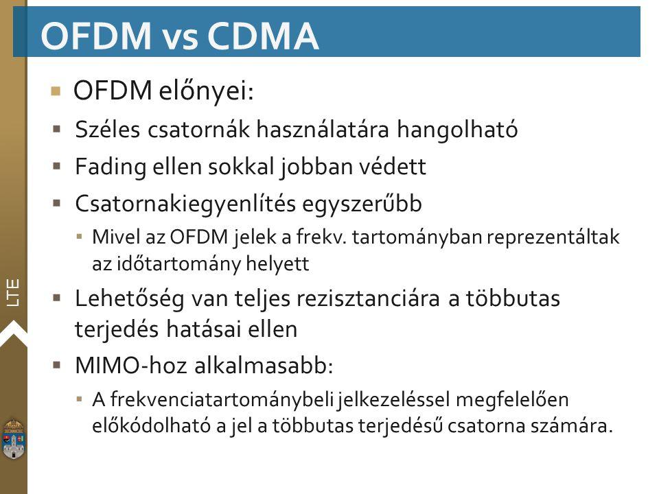 LTE  OFDM előnyei:  Széles csatornák használatára hangolható  Fading ellen sokkal jobban védett  Csatornakiegyenlítés egyszerűbb ▪ Mivel az OFDM j