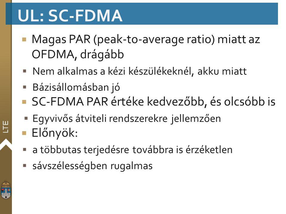 LTE  Magas PAR (peak-to-average ratio) miatt az OFDMA, drágább  Nem alkalmas a kézi készülékeknél, akku miatt  Bázisállomásban jó  SC-FDMA PAR ért