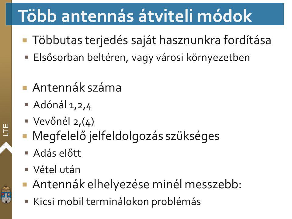 LTE  Többutas terjedés saját hasznunkra fordítása  Elsősorban beltéren, vagy városi környezetben  Antennák száma  Adónál 1,2,4  Vevőnél 2,(4)  M