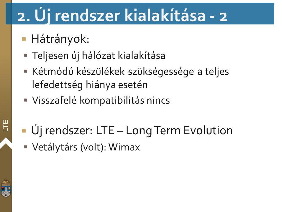 LTE  Hátrányok:  Teljesen új hálózat kialakítása  Kétmódú készülékek szükségessége a teljes lefedettség hiánya esetén  Visszafelé kompatibilitás n