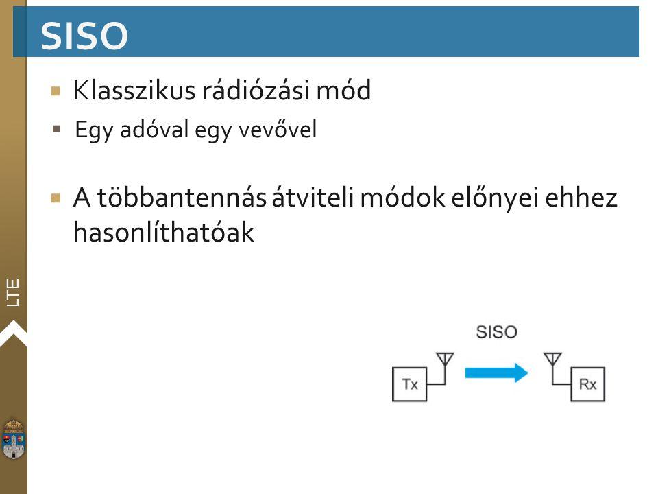 LTE  Klasszikus rádiózási mód  Egy adóval egy vevővel  A többantennás átviteli módok előnyei ehhez hasonlíthatóak SISO