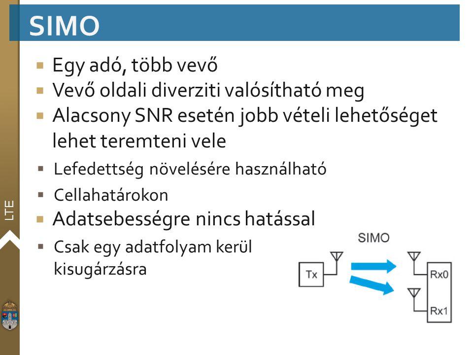 LTE  Egy adó, több vevő  Vevő oldali diverziti valósítható meg  Alacsony SNR esetén jobb vételi lehetőséget lehet teremteni vele  Lefedettség növe