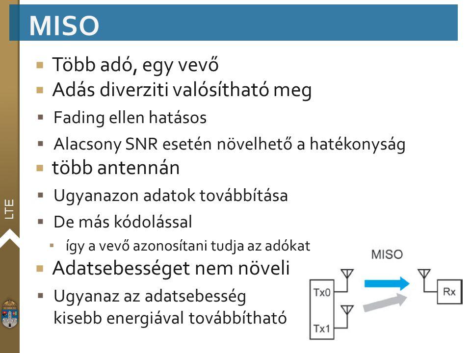 LTE  Több adó, egy vevő  Adás diverziti valósítható meg  Fading ellen hatásos  Alacsony SNR esetén növelhető a hatékonyság  több antennán  Ugyan
