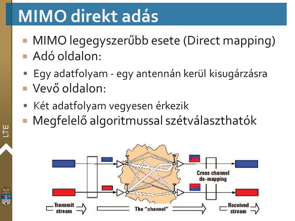 LTE  MIMO legegyszerűbb esete (Direct mapping)  Adó oldalon:  Egy adatfolyam - egy antennán kerül kisugárzásra  Vevő oldalon:  Két adatfolyam veg