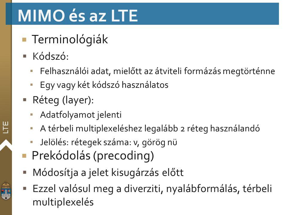 LTE  Terminológiák  Kódszó: ▪ Felhasználói adat, mielőtt az átviteli formázás megtörténne ▪ Egy vagy két kódszó használatos  Réteg (layer): ▪ Adatf