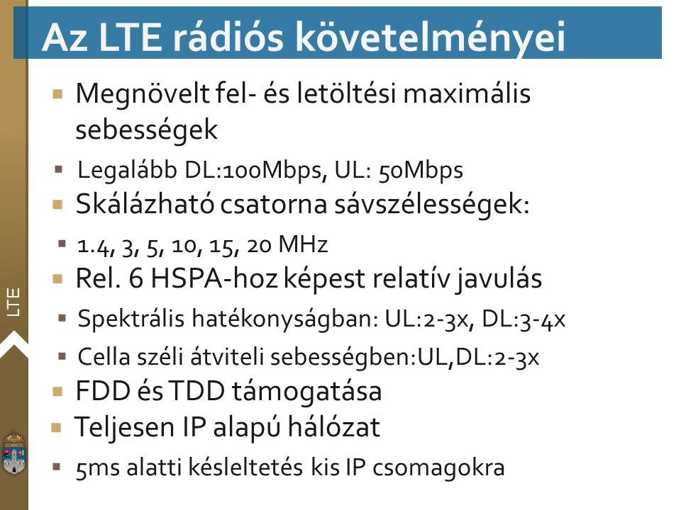 LTE  Megnövelt fel- és letöltési maximális sebességek  Legalább DL:100Mbps, UL: 50Mbps  Skálázható csatorna sávszélességek:  1.4, 3, 5, 10, 15, 20