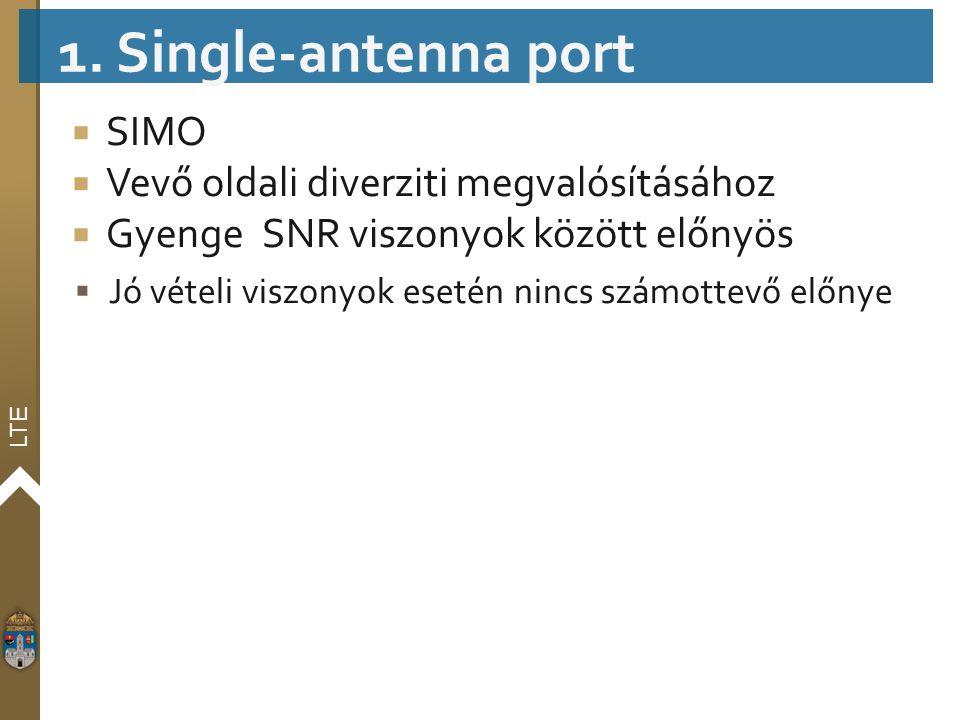 LTE  SIMO  Vevő oldali diverziti megvalósításához  GyengeSNR viszonyok között előnyös  Jó vételi viszonyok esetén nincs számottevő előnye 1. Singl