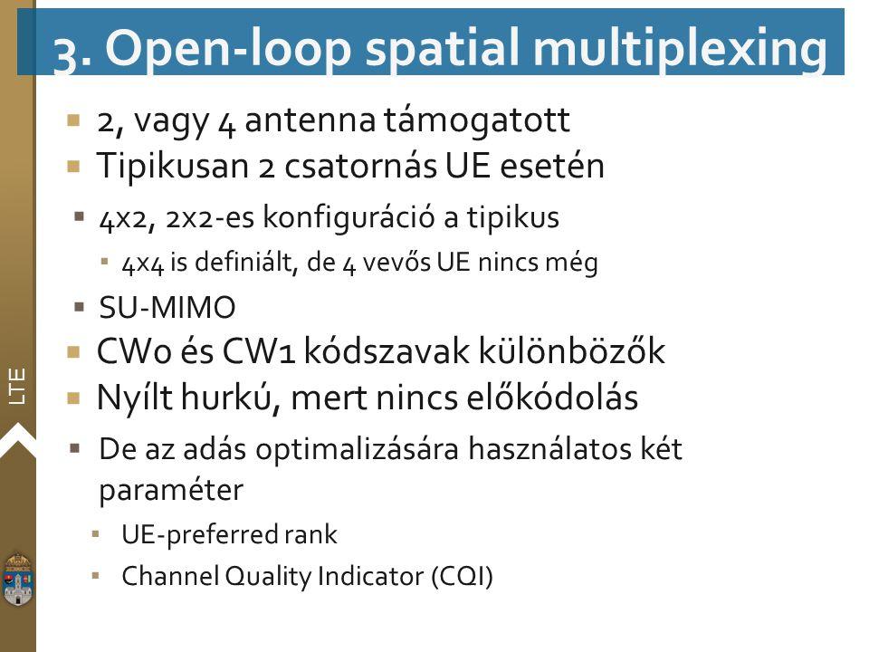 LTE  2, vagy 4 antenna támogatott  Tipikusan 2 csatornás UE esetén  4x2, 2x2-es konfiguráció a tipikus ▪ 4x4 is definiált, de 4 vevős UE nincs még