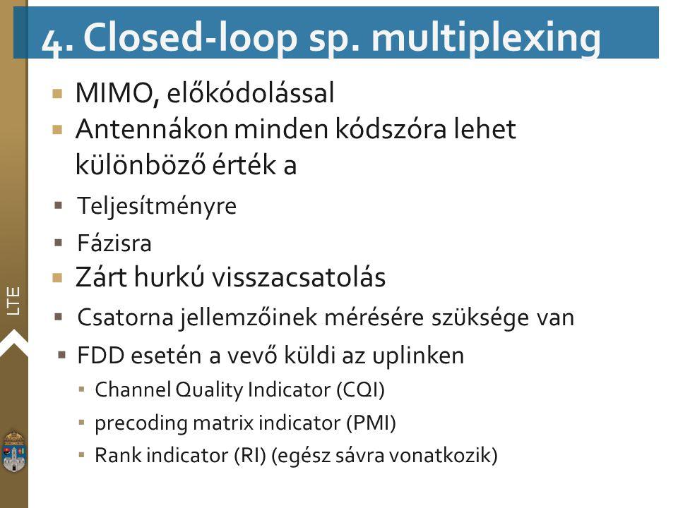 LTE  MIMO, előkódolással  Antennákon minden kódszóra lehet különböző érték a  Teljesítményre  Fázisra  Zárt hurkú visszacsatolás  Csatorna jelle