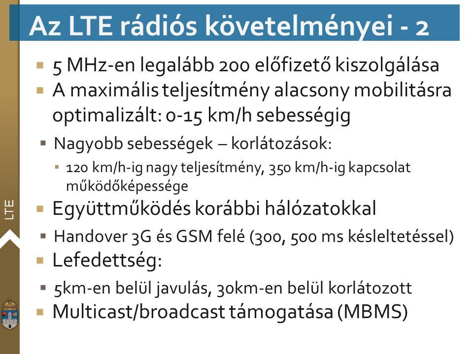 LTE  5 MHz-en legalább 200 előfizető kiszolgálása  A maximális teljesítmény alacsony mobilitásra optimalizált: 0-15 km/h sebességig  Nagyobb sebess