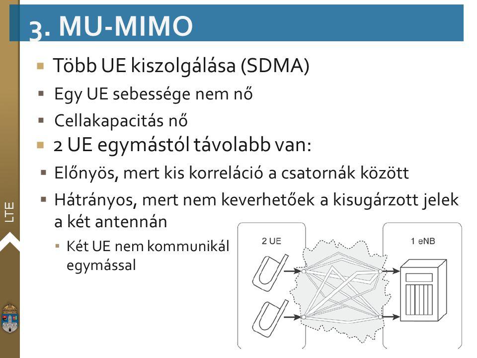 LTE  Több UE kiszolgálása (SDMA)  Egy UE sebessége nem nő  Cellakapacitás nő  2 UE egymástól távolabb van:  Előnyös, mert kis korreláció a csator