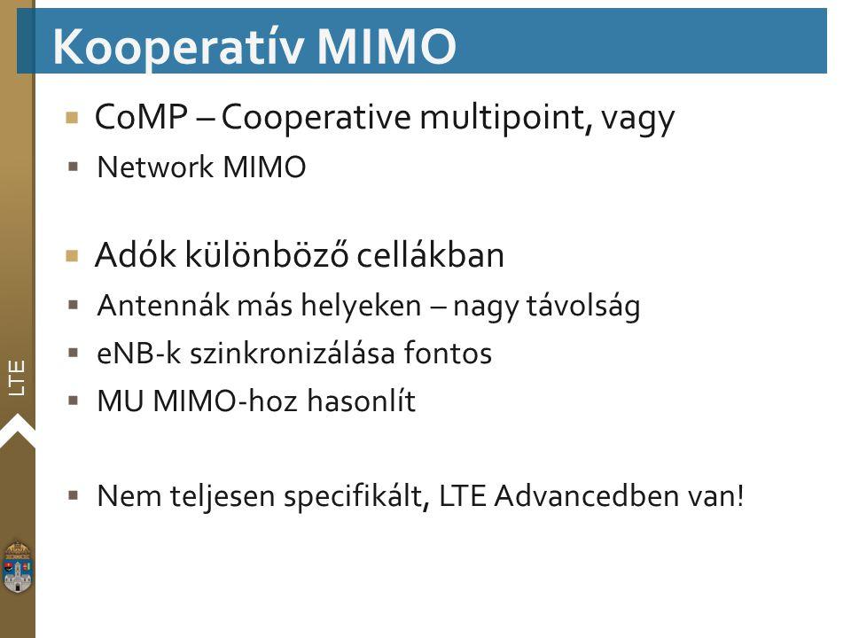 LTE  CoMP – Cooperative multipoint, vagy  Network MIMO  Adók különböző cellákban  Antennák más helyeken – nagy távolság  eNB-k szinkronizálása fo