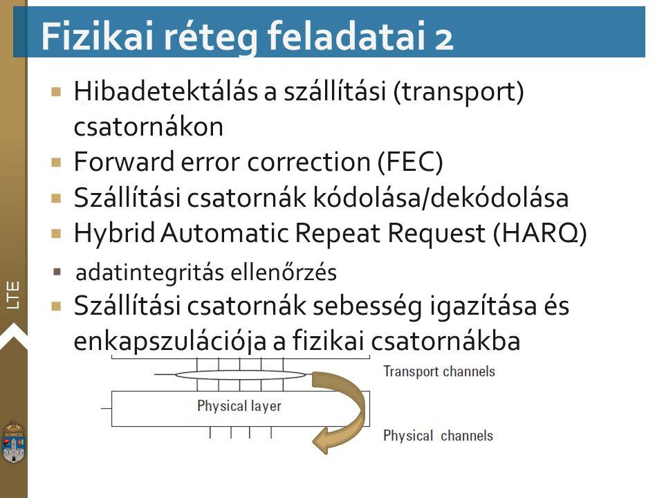 LTE  Hibadetektálás a szállítási (transport) csatornákon  Forward error correction (FEC)  Szállítási csatornák kódolása/dekódolása  Hybrid Automat