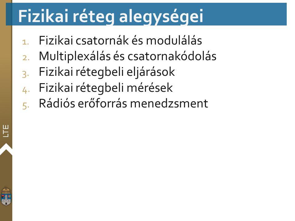 LTE 1. Fizikai csatornák és modulálás 2. Multiplexálás és csatornakódolás 3. Fizikai rétegbeli eljárások 4. Fizikai rétegbeli mérések 5. Rádiós erőfor