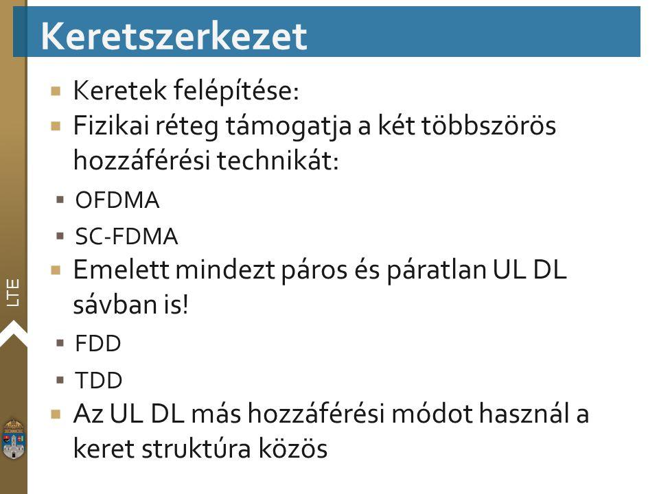 LTE  Keretek felépítése:  Fizikai réteg támogatja a két többszörös hozzáférési technikát:  OFDMA  SC-FDMA  Emelett mindezt páros és páratlan UL D