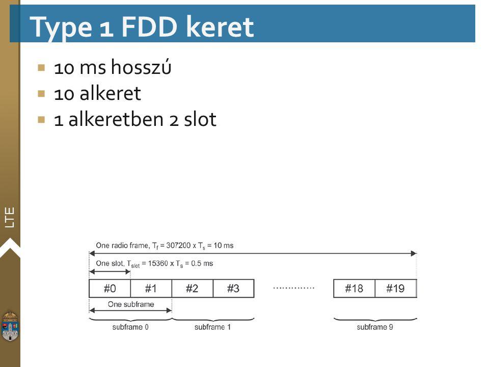 LTE  10 ms hosszú  10 alkeret  1 alkeretben 2 slot Type 1 FDD keret