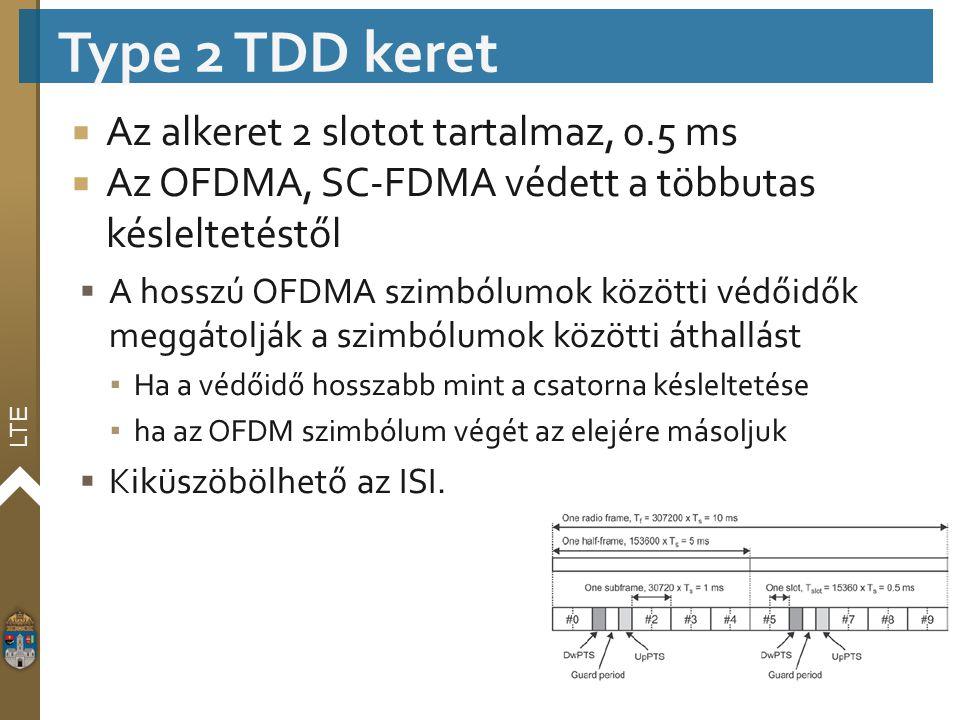 LTE  Az alkeret 2 slotot tartalmaz, 0.5 ms  Az OFDMA, SC-FDMA védett a többutas késleltetéstől  A hosszú OFDMA szimbólumok közötti védőidők meggáto