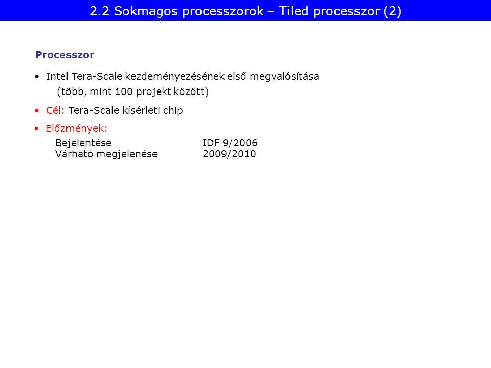 Intel Tera-Scale kezdeményezésének első megvalósítása Bejelentése IDF 9/2006 Várható megjelenése2009/2010 Cél: Tera-Scale kísérleti chip (több, mint 100 projekt között) Előzmények: Processzor 2.2 Sokmagos processzorok – Tiled processzor (2)