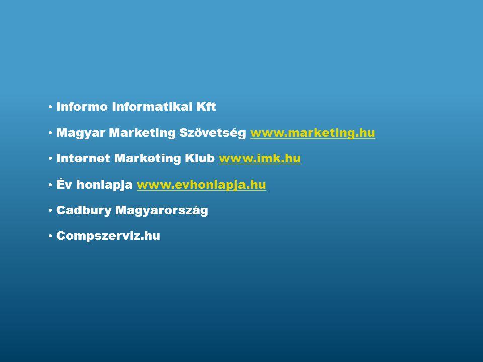 Informo Informatikai Kft Magyar Marketing Szövetség www.marketing.huwww.marketing.hu Internet Marketing Klub www.imk.huwww.imk.hu Cadbury Magyarország Compszerviz.hu Év honlapja www.evhonlapja.huwww.evhonlapja.hu