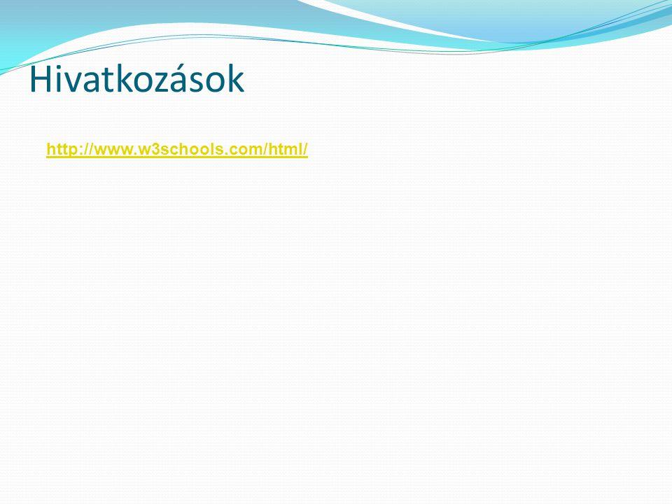 Hivatkozások http://www.w3schools.com/html/