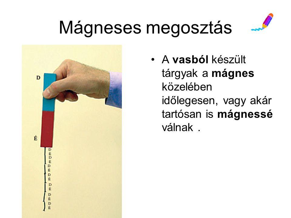 Mágneses megosztás A vasból készült tárgyak a mágnes közelében időlegesen, vagy akár tartósan is mágnessé válnak.