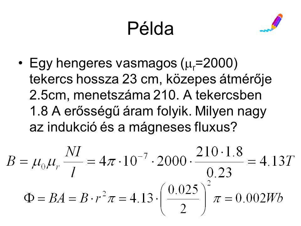 Példa Egy hengeres vasmagos (  r =2000) tekercs hossza 23 cm, közepes átmérője 2.5cm, menetszáma 210.