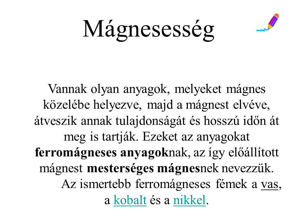 Mágnesezés mágnesezés: erős mágneses térben a domének befordulnak, az anyag mágnesessé válik: - lágyvas: visszaáll a kuszaság - keményvas: megmarad a szerkezet (permanens mágnes)