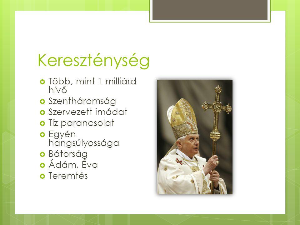 Kereszténység  Több, mint 1 milliárd hívő  Szentháromság  Szervezett imádat  Tíz parancsolat  Egyén hangsúlyossága  Bátorság  Ádám, Éva  Terem