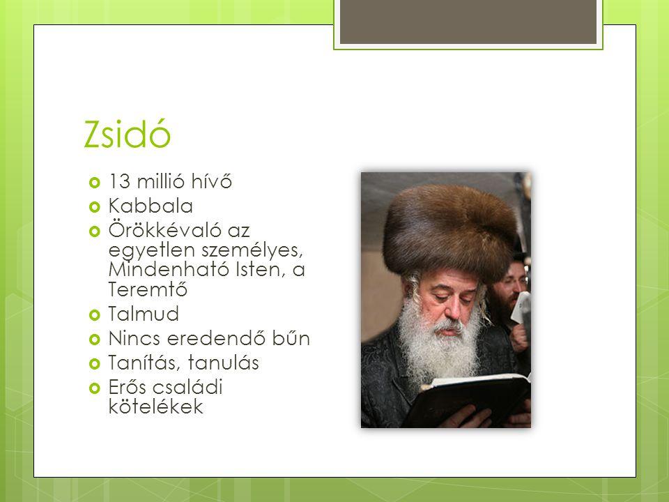 Zsidó  13 millió hívő  Kabbala  Örökkévaló az egyetlen személyes, Mindenható Isten, a Teremtő  Talmud  Nincs eredendő bűn  Tanítás, tanulás  Er