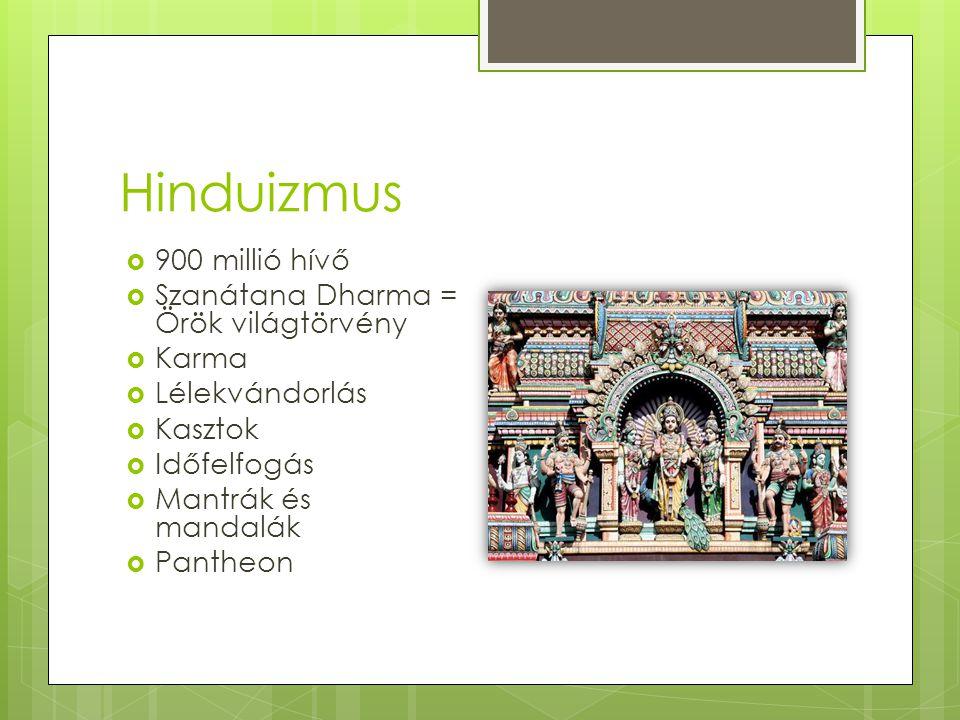 Hinduizmus  900 millió hívő  Szanátana Dharma = Örök világtörvény  Karma  Lélekvándorlás  Kasztok  Időfelfogás  Mantrák és mandalák  Pantheon