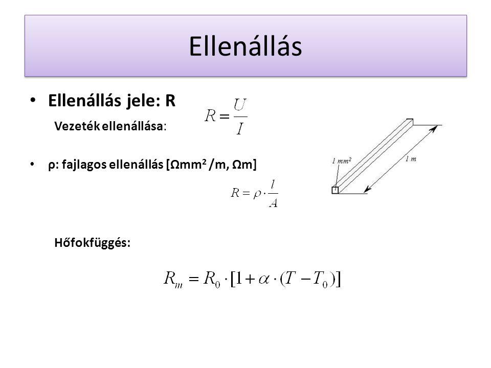 Ellenállás Ellenállás jele: R Vezeték ellenállása: ρ: fajlagos ellenállás [Ωmm 2 /m, Ωm] Hőfokfüggés: