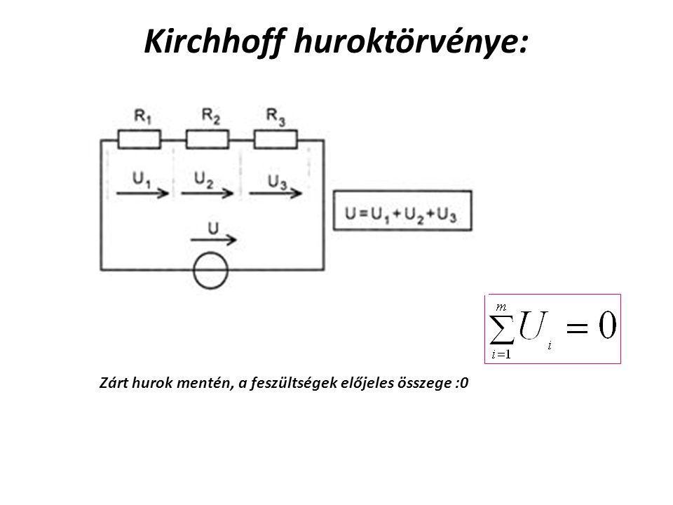 Kirchhoff huroktörvénye: Zárt hurok mentén, a feszültségek előjeles összege :0