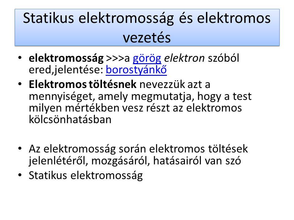 Statikus elektromosság és elektromos vezetés elektromosság >>>a görög elektron szóból ered,jelentése: borostyánkőgörögborostyánkő Elektromos töltésnek nevezzük azt a mennyiséget, amely megmutatja, hogy a test milyen mértékben vesz részt az elektromos kölcsönhatásban Az elektromosság során elektromos töltések jelenlétéről, mozgásáról, hatásairól van szó Statikus elektromosság