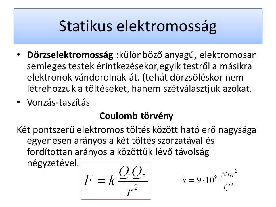 Statikus elektromosság Dörzselektromosság :különböző anyagú, elektromosan semleges testek érintkezésekor,egyik testről a másikra elektronok vándorolna