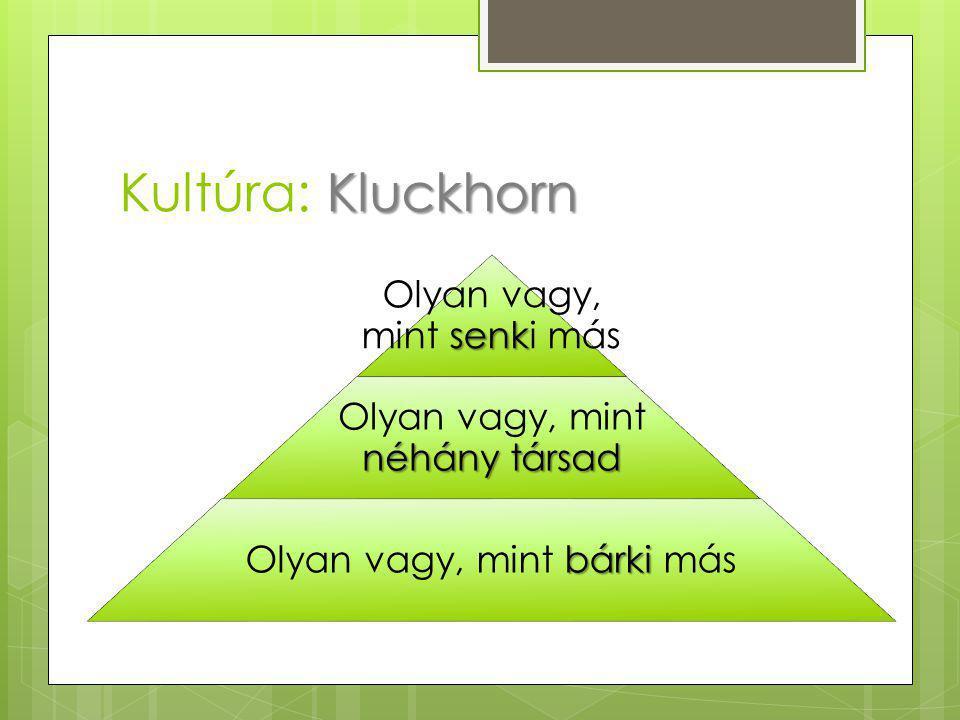 Kluckhorn Kultúra: Kluckhorn senk Olyan vagy, mint senki más néhány társad Olyan vagy, mint néhány társad bárki Olyan vagy, mint bárki más