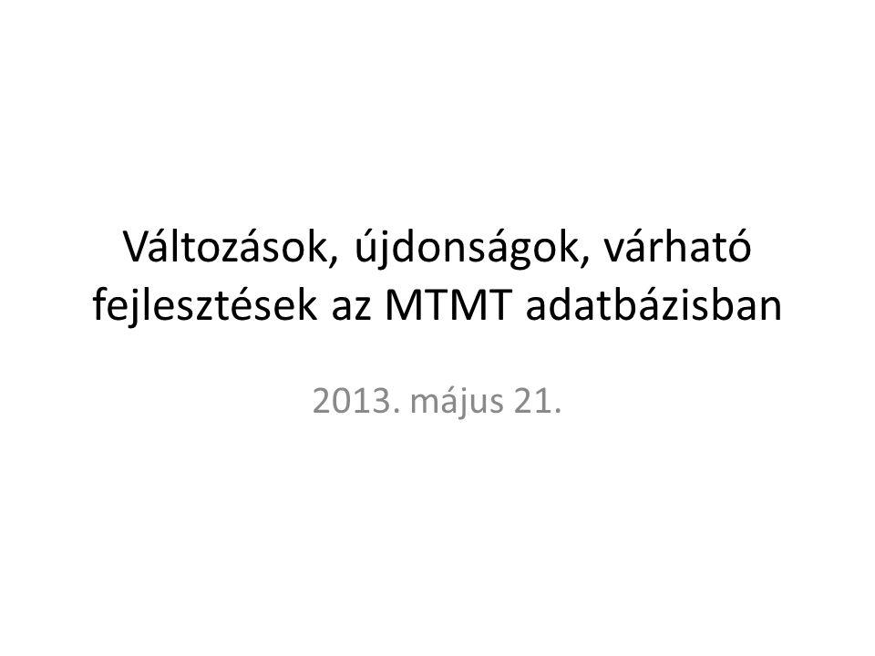 Változások, újdonságok, várható fejlesztések az MTMT adatbázisban 2013. május 21.