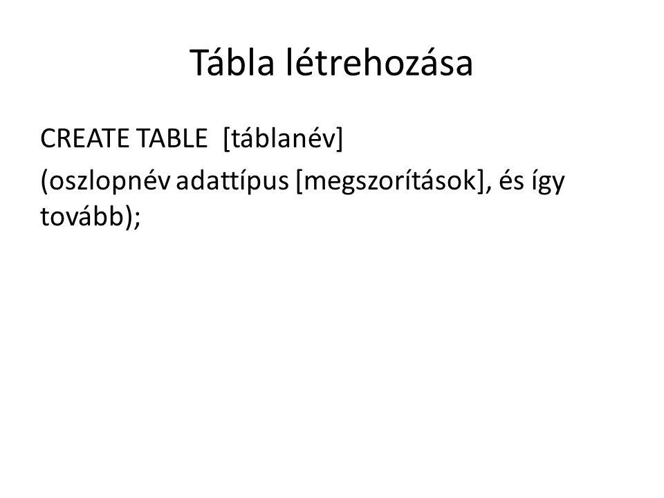 Tábla létrehozása CREATE TABLE [táblanév] (oszlopnév adattípus [megszorítások], és így tovább);