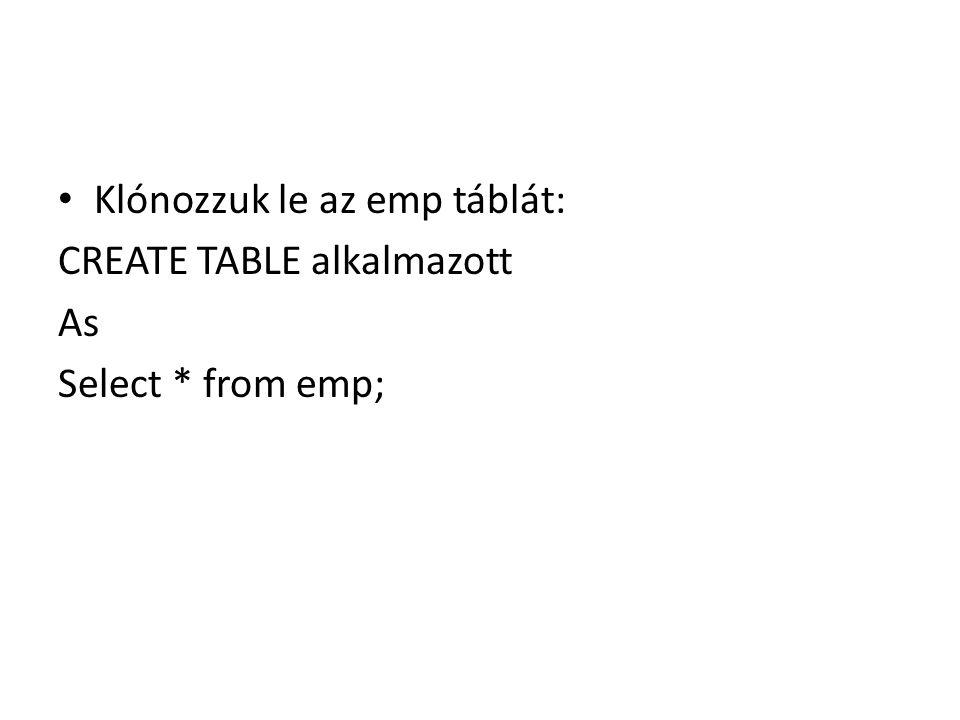 Klónozzuk le az emp táblát: CREATE TABLE alkalmazott As Select * from emp;