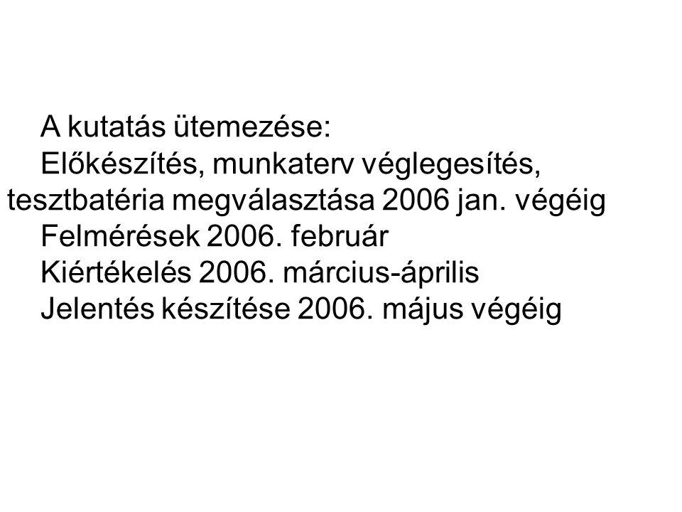 A kutatás ütemezése: Előkészítés, munkaterv véglegesítés, tesztbatéria megválasztása 2006 jan. végéig Felmérések 2006. február Kiértékelés 2006. márci