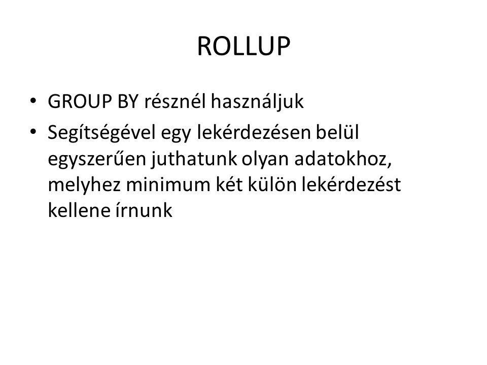 ROLLUP - példa Írjuk meg egy szkriptbe a következő lekérdezéseket: SELECT job, deptno, avg(sal) FROM emp GROUP BY job, deptno; SELECT job, deptno, avg(sal) FROM emp GROUP BY ROLLUP (job, deptno); SELECT job, deptno, avg(sal) FROM emp GROUP BY ROLLUP (deptno, job);