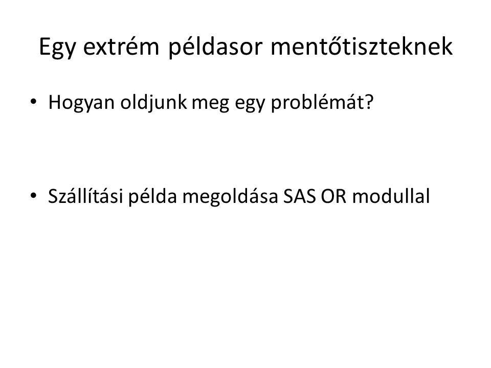 Egy extrém példasor mentőtiszteknek Hogyan oldjunk meg egy problémát? Szállítási példa megoldása SAS OR modullal