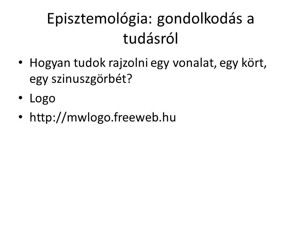 Episztemológia: gondolkodás a tudásról Hogyan tudok rajzolni egy vonalat, egy kört, egy szinuszgörbét? Logo http://mwlogo.freeweb.hu