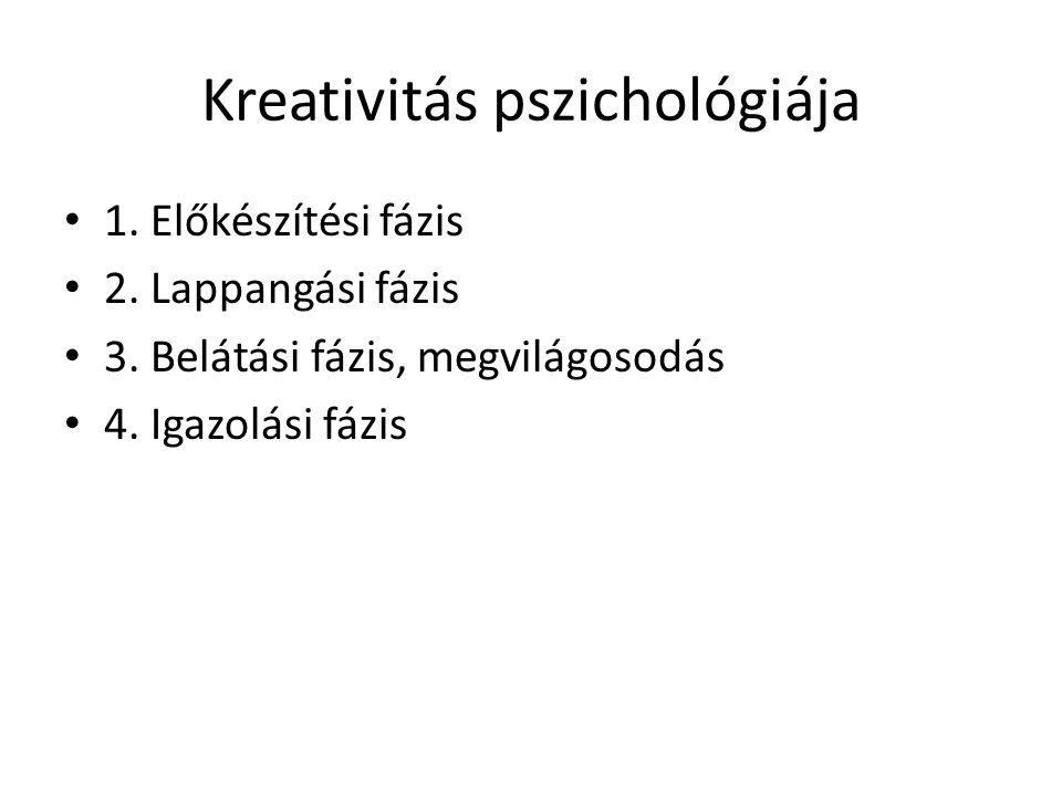Kreativitás pszichológiája 1. Előkészítési fázis 2. Lappangási fázis 3. Belátási fázis, megvilágosodás 4. Igazolási fázis