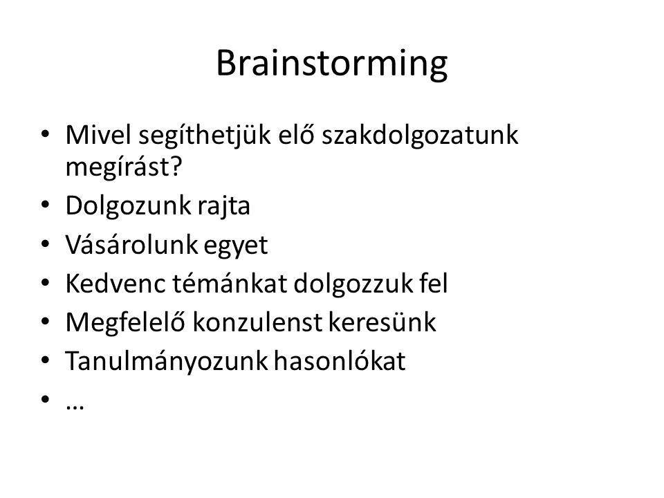 Brainstorming Mivel segíthetjük elő szakdolgozatunk megírást? Dolgozunk rajta Vásárolunk egyet Kedvenc témánkat dolgozzuk fel Megfelelő konzulenst ker