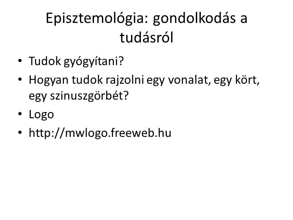 Episztemológia: gondolkodás a tudásról Tudok gyógyítani? Hogyan tudok rajzolni egy vonalat, egy kört, egy szinuszgörbét? Logo http://mwlogo.freeweb.hu